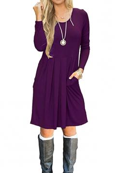 Womens Crew Neck Long Sleeve Loose Pleated Plain Skater Dress Purple