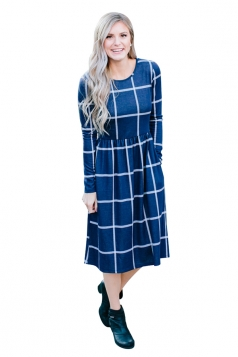 Womens Crew Neck Plaid With Pocket Loose Midi Long Sleeve Dress Blue