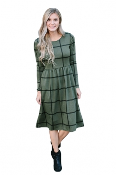 Womens Crew Neck Plaid With Pocket Loose Midi Long Sleeve Dress Green