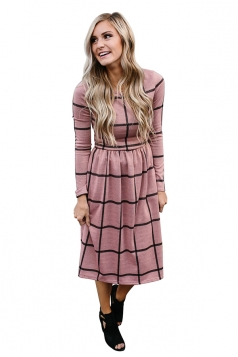 Womens Crew Neck Plaid With Pocket Loose Midi Long Sleeve Dress Pink
