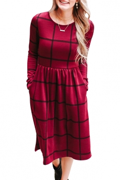 Womens Crew Neck Plaid With Pocket Loose Midi Long Sleeve Dress Red