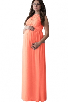 Womens Sleeveless Lace Waist Tie Maxi Baby Shower Maternity Dress Pink