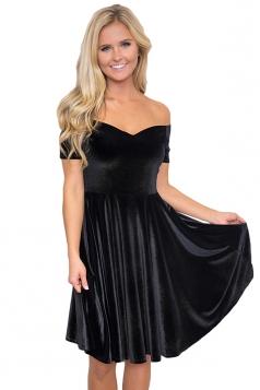 Womens Sexy Off Shoulder Short Sleeve Plain Cocktail Dress Black