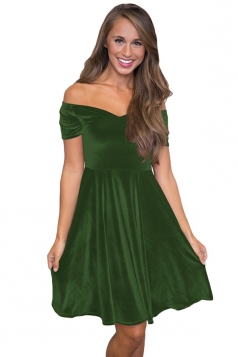 Womens Sexy Off Shoulder Short Sleeve Plain Cocktail Dress Green