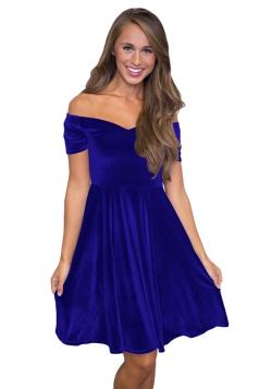 Womens Sexy Off Shoulder Short Sleeve Cocktail Dress Sapphire Blue
