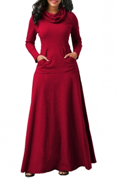 Womens Cowl Neck Kangaroo Pocket Long Sleeve Plain Maxi Dress Red