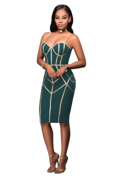 Womens Spaghetti Straps Tube Sequins Zipper Bodycon Club Dress Green