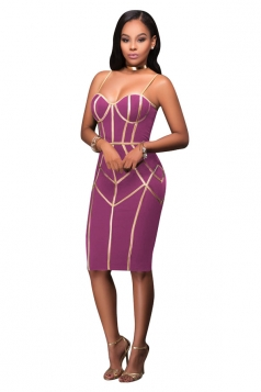 Womens Spaghetti Straps Tube Sequins Zipper Bodycon Club Dress Purple