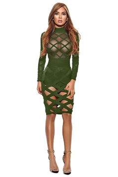 Womens Long Sleeve Sheer Bandage Cut Out Clubwear Dress Army Green