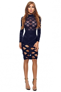 Womens Sexy Long Sleeve Sheer Bandage Bodycon Clubwear Dress Navy Blue