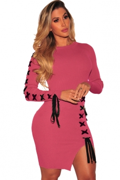 Womens Long Sleeve Cross Lace Up Slit Ribbed?Knit Bodycon Dress Ruby