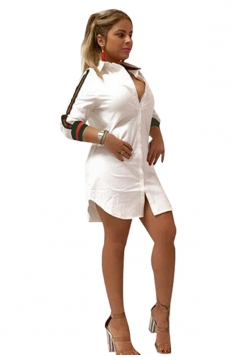 Womens Sexy V-Neck Stripe Long Sleeve Slit Shirt Clubwear Dress White