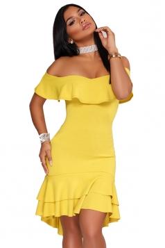 Womens Sexy Off Shoulder Ruffle High Low Plain Bodycon Dress Yellow