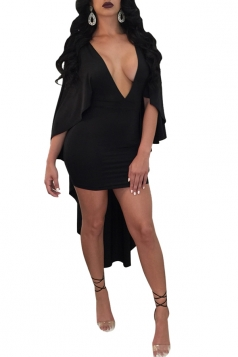 Womens Stylish Deep V-Neck Bodycon Plain Cape Dress Black