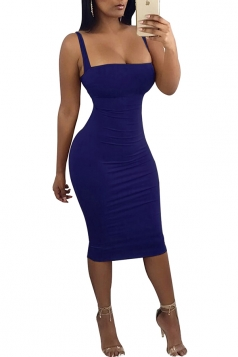 Womens Sexy Sleeveless Backless Back Lace Up Midi Clubwear Dress Blue