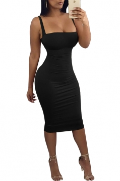 Womens Sexy Low Cut Square Neck Backless Bodycon Clubwear Dress Black