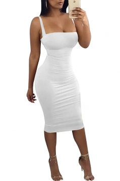 Womens Sexy Low Cut Square Neck Backless Bodycon Clubwear Dress White