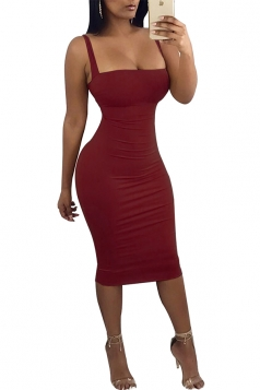 Womens Sexy Sleeveless Backless Back Lace Up Midi Clubwear Dress Ruby
