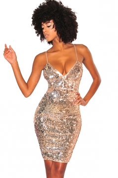 Womens V-Neck Spaghetti Straps Sequined Bodycon Clubwear Dress Gold