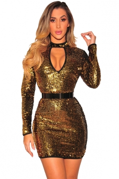 Womens Sexy Cut Out Front Long Sleeve Sequined Night Club Dress Gold