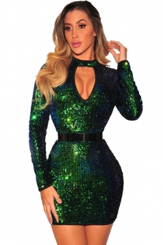 Womens Cut Out Front Sequined Zipper Bodycon Party Club Dress Green