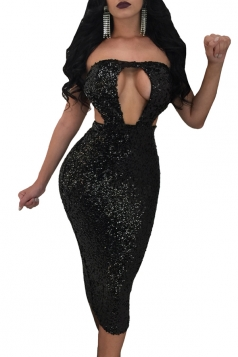Off Shoulder Cut Out Backless Sequined Bodycon Midi Club Dress Black