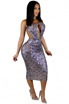 Womens Off Shoulder Cut Out Backless Sequined Midi Club Dress Purple