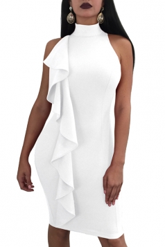 Womens Sexy High Collar Halter Bodycon Ruffle Midi Club Dress White