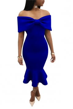 Womens Sexy Off Should Bow Front Ruffle Mermaid Evening Dress Blue