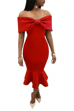 Womens Sexy Off Should Bow Front Ruffle Mermaid Evening Dress Red
