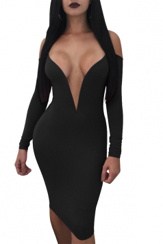 Womens Deep V Neck Long Sleeve Cold Shoulder Bodycon Club Dress Black