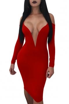 Womens Deep V Neck Spaghetti Straps Cold Shoulder Plain Club Dress Red