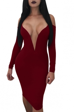 Sexy Deep V Neck Spaghetti Straps Long Sleeve Bodycon Club Dress Ruby