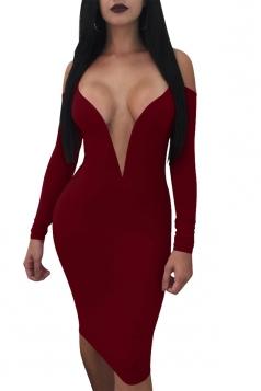 Sexy Deep V Neck Spaghetti Straps Long Sleeve Bodycon Club Dress Ruby