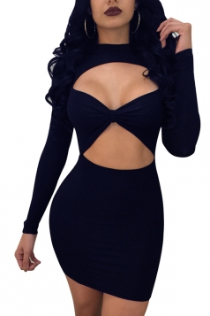 Womens Cut Out Long Sleeve Bodycon Mini Party Clubwear Dress Navy Blue