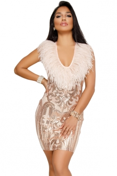 Womens Sexy Crew Neck Fur Sequin Bodycon Clubwear Dress Apricot