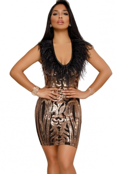 Womens Sexy Crew Neck Fur Sequin Bodycon Clubwear Dress Black
