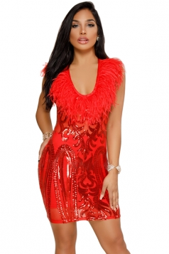 Womens Sexy Crew Neck Fur Sequin Bodycon Clubwear Dress Red