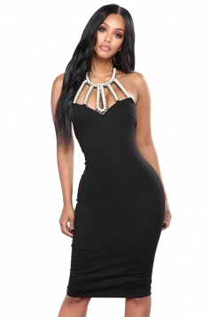 Womens Sexy V Neck Backless Halter Split Bodycon Clubwear Dress Black