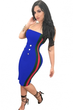 Womens Sexy Button Striped Midi Bodycon Tube Dress Blue