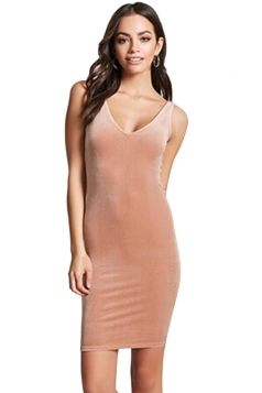 Womens Sexy V-Neck Bodycon Plain Midi Tank Dress Pink