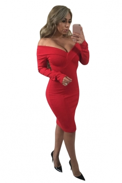 Womens Sexy Off Shoulder V Neck Long Sleeve Bodycon Midi Dress Red