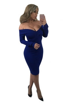 Womens Sexy Off Shoulder V Neck Long Sleeve Midi Dress Sapphire Blue