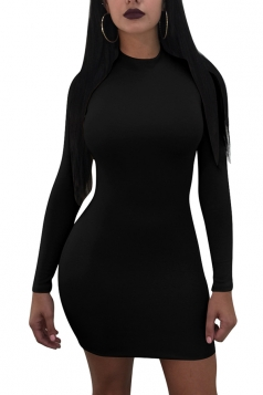 Womens Sexy Lace Up Backless Long Sleeve Plain Bodycon Dress Black