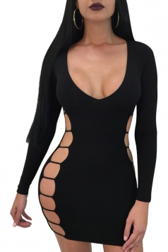 Womens Sexy Cut Out V Neck Long Sleeve Plain Bodycon Dress Black