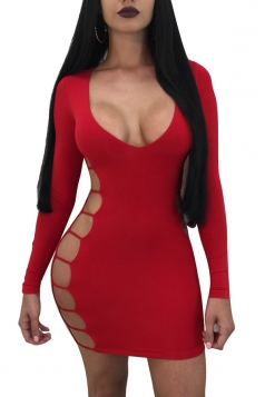 Womens Sexy Cut Out V Neck Long Sleeve Plain Bodycon Dress Red