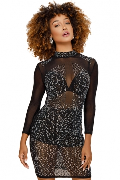 Womens Sexy High Collar Sheer Sequin Clubwear Bodycon Dress Black