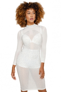Womens Sexy High Collar Sheer Sequin Clubwear Bodycon Dress White