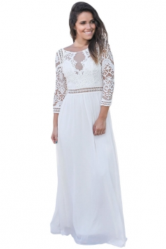Womens Elegant Crochet Quarter Sleeve Lace Maxi Evening Dress White