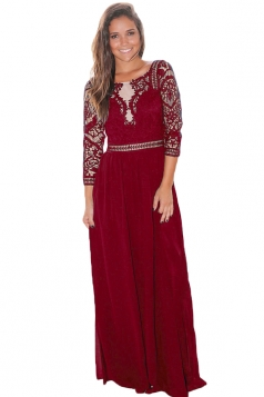 Womens Elegant Crochet Quarter Sleeve Lace Maxi Evening Dress Ruby